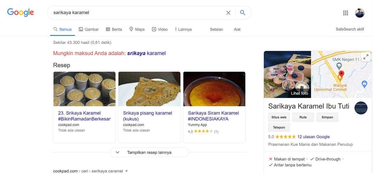Sarikaya Karamel bu tuti - Jasa Pendaftaran Usaha dan Optimasi di Google Bisnis Maps