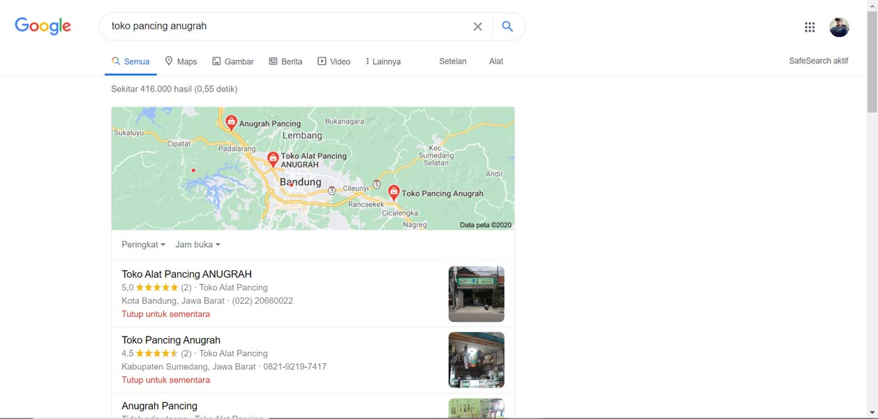 Toko Pancing Anugrah - Jasa Pendaftaran Usaha dan Optimasi di Google Bisnis Maps